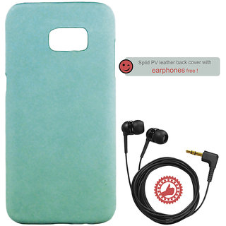 100 Microns Protective Leather Mobile Cover for Samsung S7 Edge with Headphones in Teal Blue colour