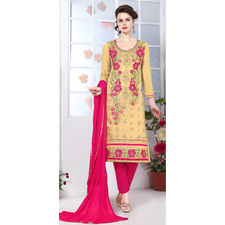 Blissta Yellow PolyCotton Embroidered Straight Suit Dress Material