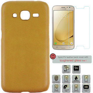 100 Microns Protective Leather Mobile Cover for Samsung J2 2016 with Tuffen glass in Mustard colour