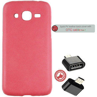 100 Microns Protective Leather Mobile Cover for Samsung J2 2016 with OTG cable in Strawberry Pink colour