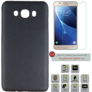 100 Microns Protective Leather Mobile Cover for Samsung J7 2016 with Tuffen glass in Black colour