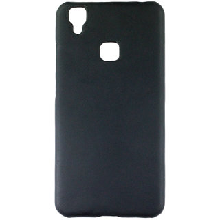 100 Microns Protective Leather Mobile Cover for VIVO V3  in Black colour
