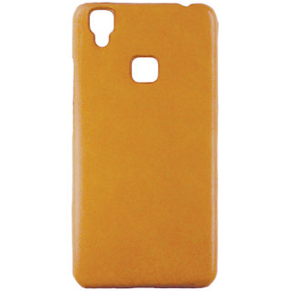 100 Microns Protective Leather Mobile Cover for VIVO V3  in Mustard colour