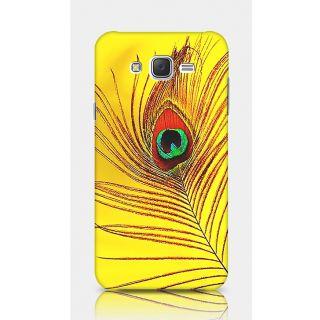 Crazyartshop Peacock Feather Yellow Designer Back Case Cover For Samsung Galaxy J5