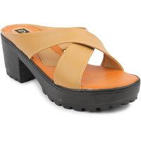 Do Bhai Women's Cream Round Toe Heels