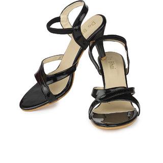 Do Bhai Womens Black Round Toe Heels