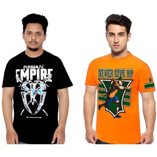 Attitude Black and Orange John Cena Tshirt Combo