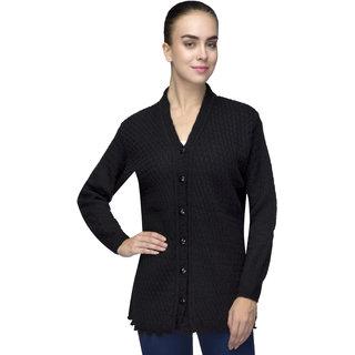 One Femme Womens Woollen Self-Design Solid Color Cardigan