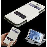 Samsung Galaxy S3 I9300 -  Caller ID Table Talk Flip Cover Case  - White Color