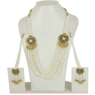 MUCH MORE Clear White Pearl Beads Work Multi Layer Chain Necklace Set For Women available at ShopClues for Rs.5799