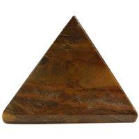 Gomati Ethnic Handicrafts Showpieces Fengshui Tiger Eye Stone Vaastu Pyramid 8 Cm