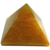 Gomati Ethnic Handicrafts Showpieces Fengshui Yellow Aventurine Stone Vaastu Pyramid 3 Cm