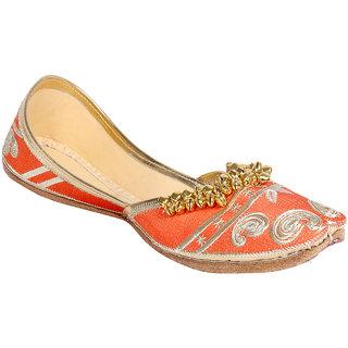 Panahi Women Orange Slip on Jutti