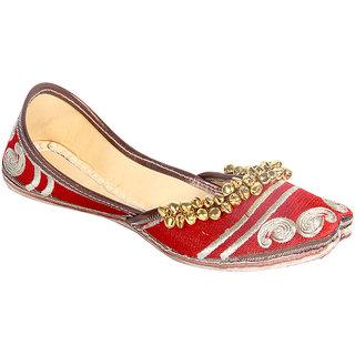 Panahi Women Red Slip on Jutti