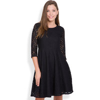 Tokyo Talkies Black Solid Round Neck Polyester Dress