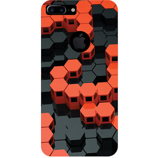 GripIt 3D Red & Black Hexagons Printed Case for Apple iPhone 7 Plus