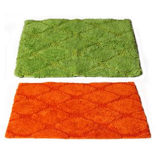 Story@Home Orange|Green Cotton Blend Set Of 2 Doormat