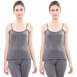 Vimal Winter Premium Thermal Black Camisole For Women(Pack Of 2)