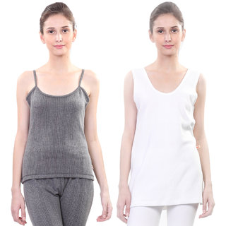 Vimal Winter Premium Thermal Black And White Upper Camisole and Slip For Women(Pack Of 2)
