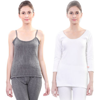 Vimal Winter Premium Thermal Black And White Upper Camisole And Top For Women(Pack Of 2)
