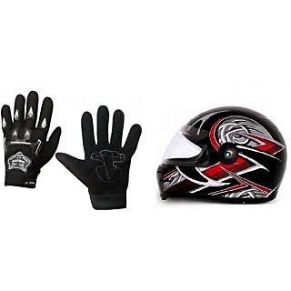 Combo Black Knighthood Gloves+Stylish ISI Helmet