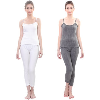 Vimal Winter Premium Black And White Thermal Upper Bottom Camisole Set For Women(Pack Of 2)