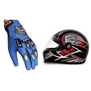 Combo Blue Knighthood Gloves+Stylish ISI Helmet