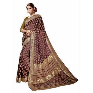 Sudarshansilk Brown Aariwork Bhagalpuri Silk Saree