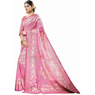 Sudarshansilk Pink Aariwork Bhagalpuri Silk Saree