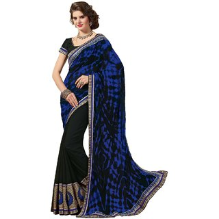Sudarshansilk Blue Aariwork Chiffon Saree