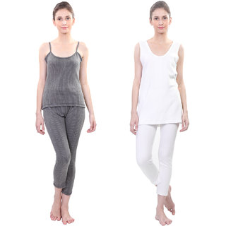 Vimal Winter Premium Black And White Thermal Upper Bottom Camisole And Slip Set For Women(Pack Of 2)