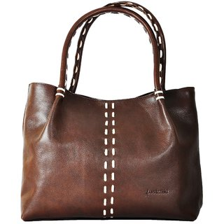 Ethnic-Touch Leather Handbag - For Women