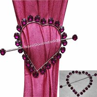 Deal Wala Beautiful Pack Of 2  Heart Shape Crystal Stone Curtain Holder