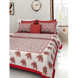 Dikshitafab Multicolour Cotton Printed 1 Double Badsheet With 2 Pillow Cover  DF160