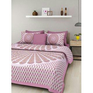 Dikshitafab Multicolour Cotton Printed 1 Double Badsheet With 2 Pillow Cover  DF165
