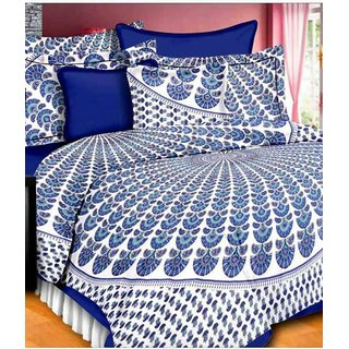 Dikshitafab Multicolour Cotton Printed 1 Double Badsheet With 2 Pillow Cover  DF168