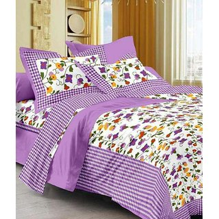 Dikshitafab Multicolour Cotton Printed 1 Double Badsheet With 2 Pillow Cover  DF188