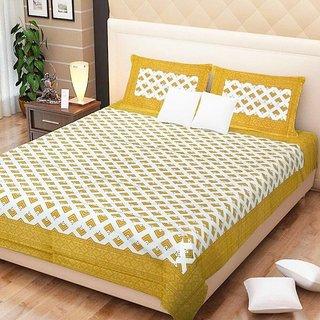 Dikshitafab Multicolour Cotton Printed 1 Double Badsheet With 2 Pillow Cover  DF215
