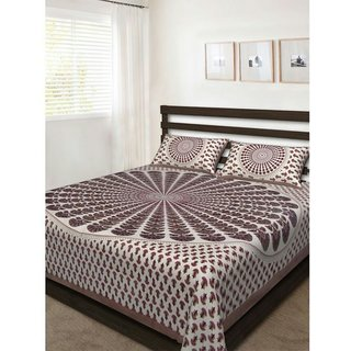 Dikshitafab Multicolour Cotton Printed 1 Double Badsheet With 2 Pillow Cover  DF237