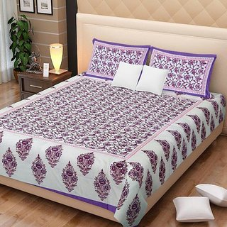 Dikshitafab Multicolour Cotton Printed 1 Double Badsheet With 2 Pillow Cover  DF239