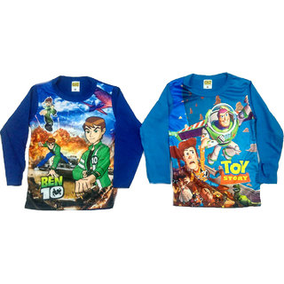 Cartoon Full Sleeve Multi Color T shirts For Kids 2 to 4 Years.Pack of 2