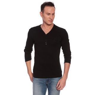 27Ashwood Men's Black Henley T-shirt
