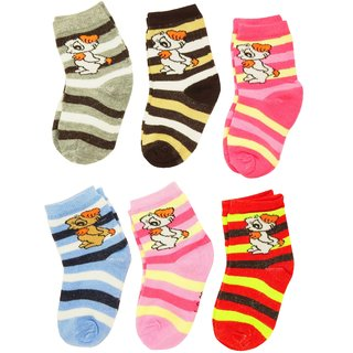 Neska Moda 6 Pair Multicolor Kids Ankle Length Cotton Socks Age Group 3 to 7 Years