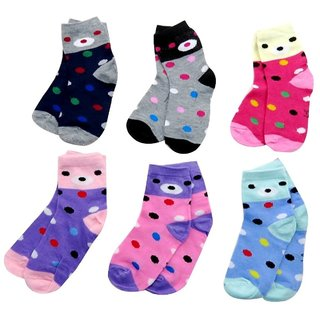 Neska Moda 6 Pairs Kids Multi Color Cotton Ankle Length Socks Age Group 7 to 13 Years