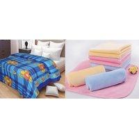 AB Buy Single Bed Printed Fleece Blanket 350gm  Get 5 Kitchen Napkin 12x12 Inch Assorted Free