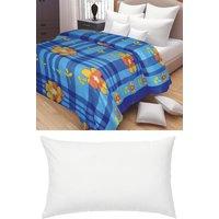 AB Buy Single Bed Printed AC Blanket 350gm  Get 1 Pillow Free