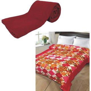AB Buy Single Bed Plain Fleece Blanket  Get Single Bed Printed Fleece Blanket 350gm Assorted Free