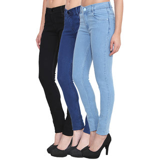 Klick2Style Pack of 3 Slim Fit Streachable Women Denim Black SkyBlue and Blue