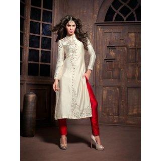 RapidDukan Semi-Stitched Silver Color Straight Salwar Suit Dupatta Material SF819