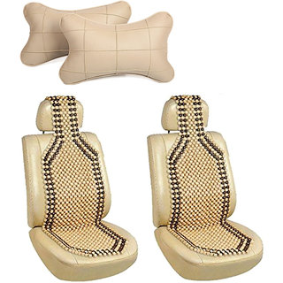 Pegasus Premium Two front Wooden bead seat with Car Neck Rest for Toyota Etios Liva